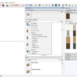 SketchUp komponenty a materialy