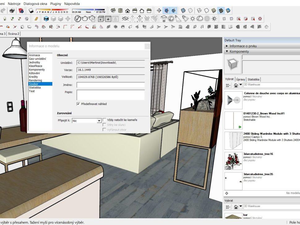 SketchUp informace o modelu